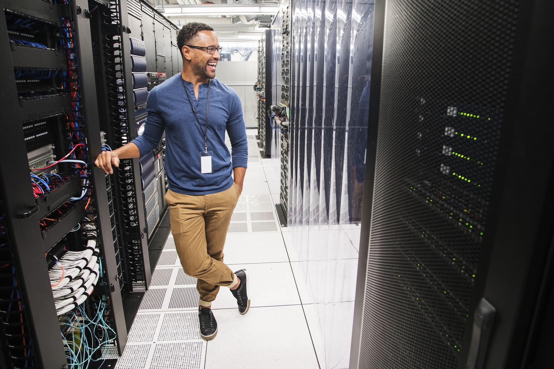 Man stood in server room
