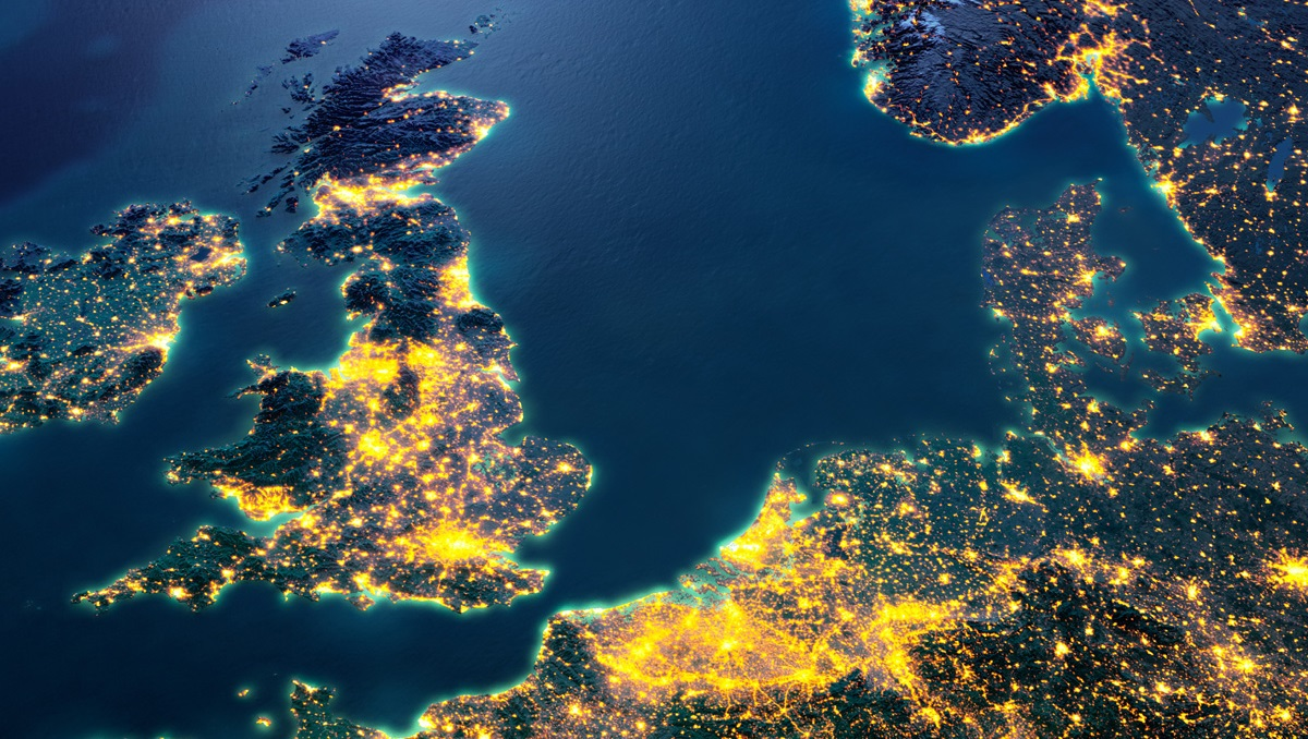Map of GB and Denmark at night used for National Grid Viking Link story