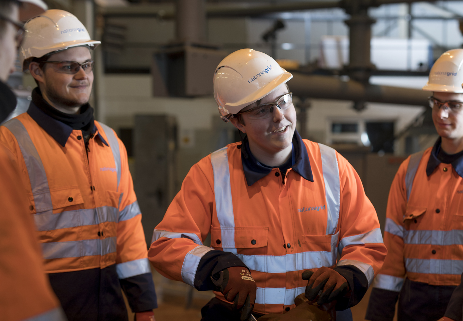 Nathan Hunt with fellow apprentices wearing PPE - used for the National Grid story 'Nathan Hunt: the apprentice with energy'