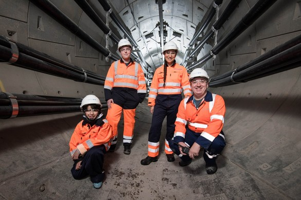 National Grid employees and school child in London Power Tunnels