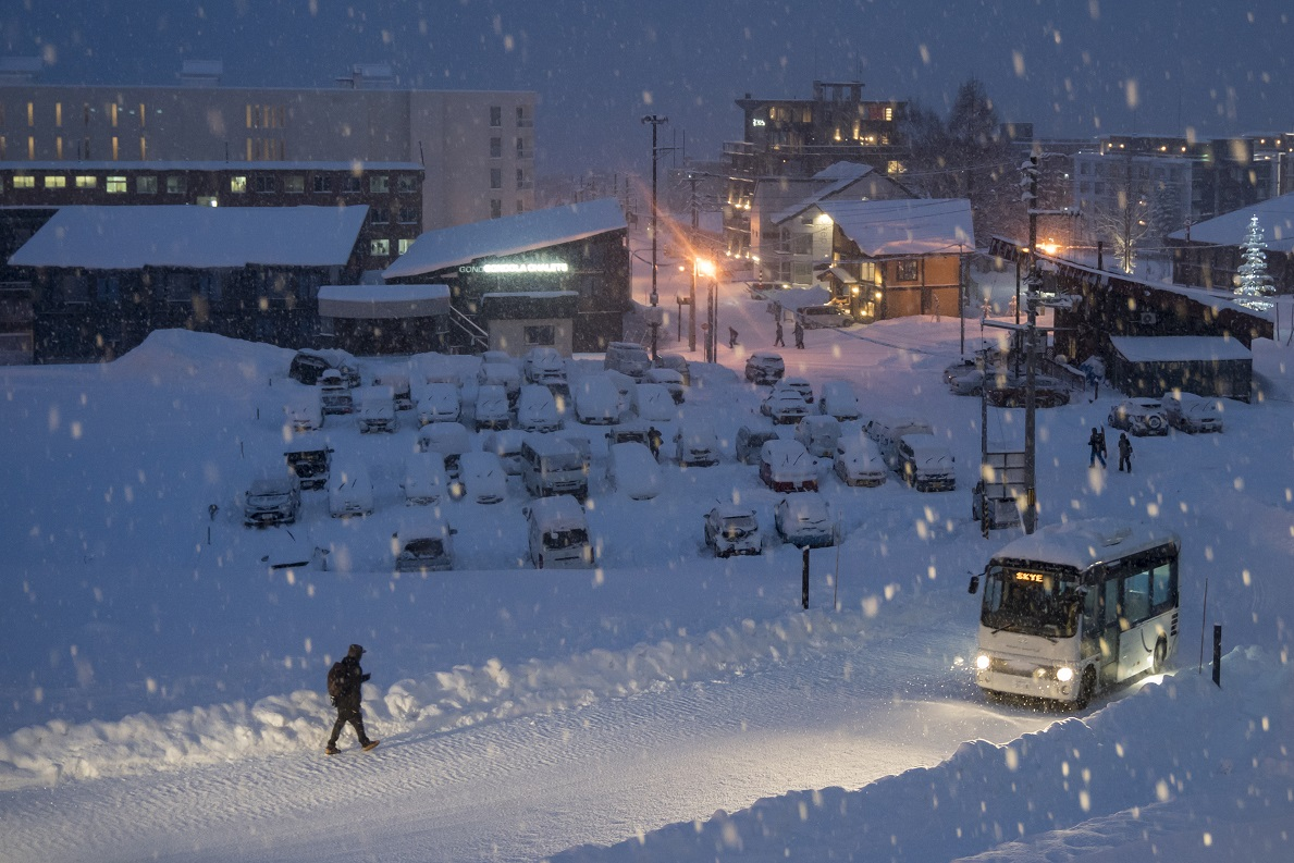 Road and buildings in snow for National Grid article