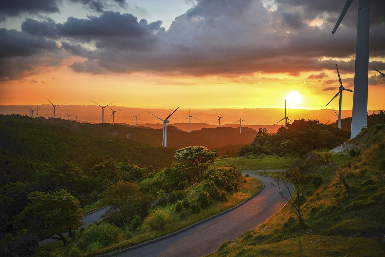 Wind turbines in green landscape with winding road at sunset - used for the National Grid story 'App helps you work out how green your power is'