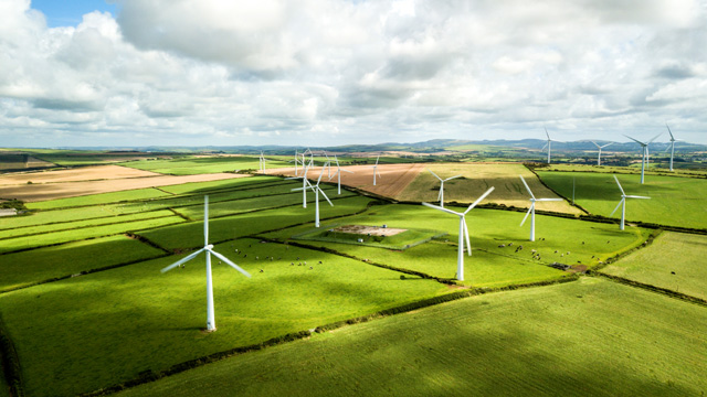 National Grid ESO Future Energy Scenarios (FES) - wind turbines in sunny fields