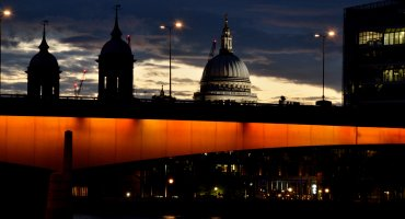 London skyline featuring St Paul's Cathedral at dusk