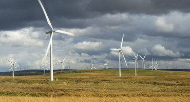 Wind turbines in rolling fields under cloudy grey skies
