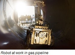 Robot inside a National Grid gas pipeline