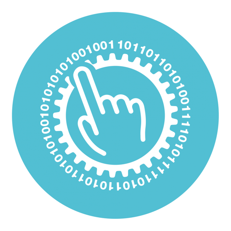 A light blue icon with a finger pointing at numbers symobolising asset management