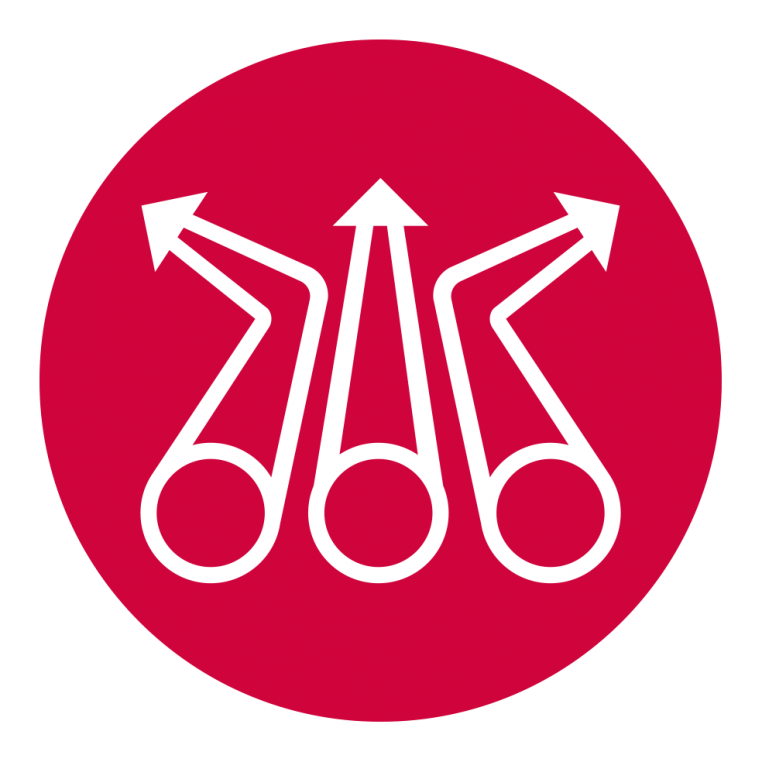 A magenta icon with pointed pipelines symbolising the future of the gas National Transmission System (NTS)