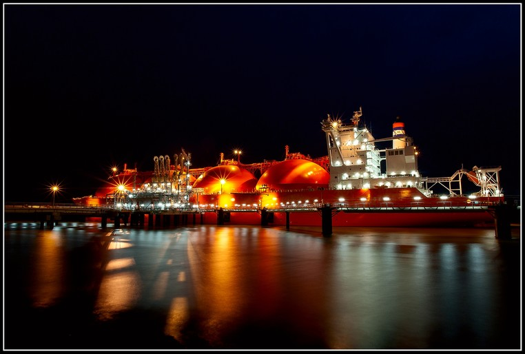 LNG ship at night