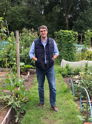 Matthew Goldberg in his allotment for National Grid's Green Collar Jobs series