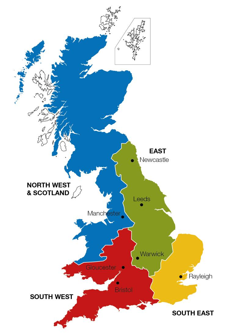 A red, blue, green and yellow map showing the segregation of different areas within Great Britain