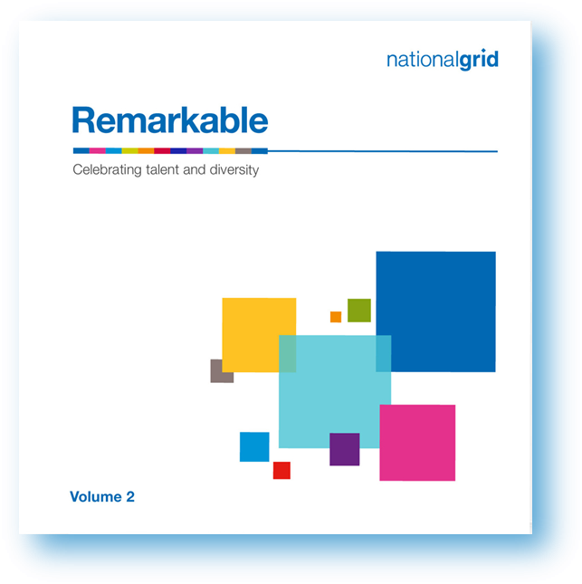 White cover of National Grid's 'Remarkable' publication with colourful blocks in the bottom right corner
