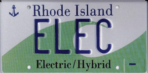 Number plate developed for electric and hybrid vehicles on Rhode Island, US