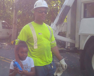 National Grid US lineworker Donald Lopes and daughter