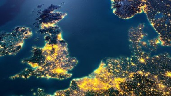 Map of GB and Denmark at night