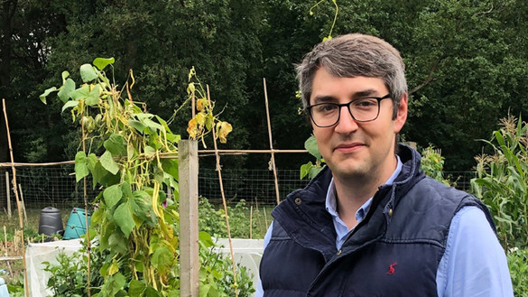 Photo of Matthew Goldberg in his allotment for National Grid's Green Collar Jobs series
