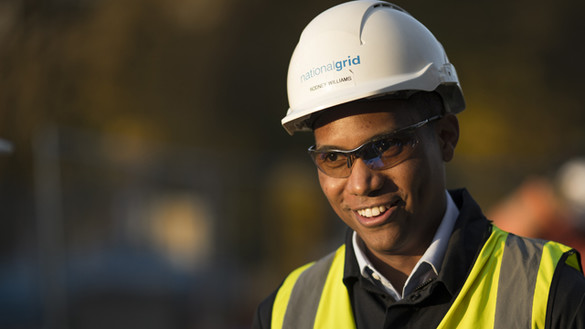 National Grid's Rodney Williams wearing hard hat and high vis vest