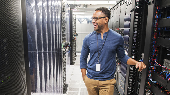Technician in server room for NGP 'Exciting new investments in AI' story