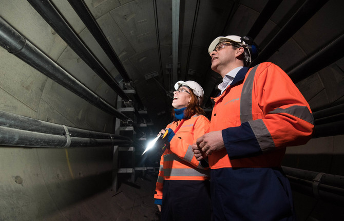 David Wright and Hannah Fry in National Grid London Power Tunnels