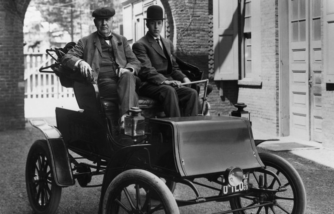 National Grid old Ford electric vehicle with Thomas Edison