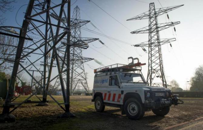 National Grid vehicle parked in the foreground of a field of electricity pylons