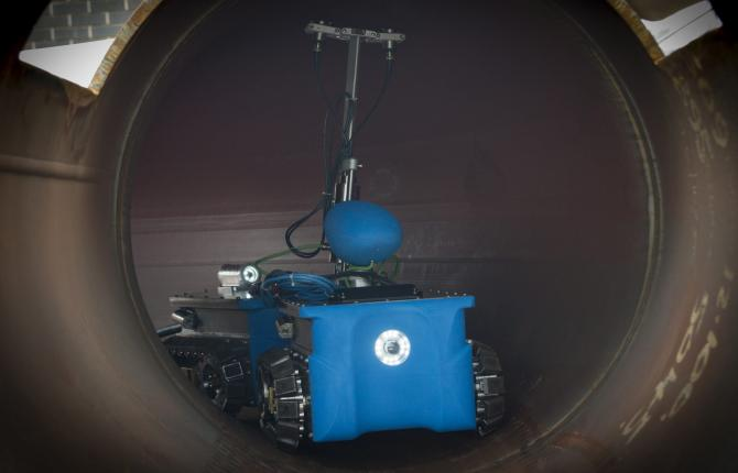 A close up shot of new robotic engineering equipment
