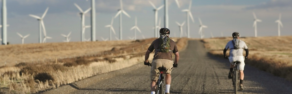 Two people cycling through a wind farm
