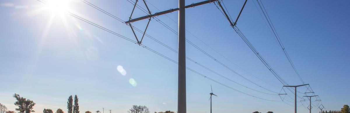 A landscape of grass and soil under a blue and sunny sky with electricity pylons and cabling overhead