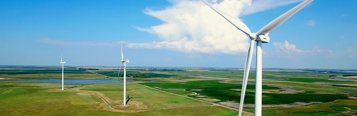 Landscape aerial photo of wind farms in Midwest America