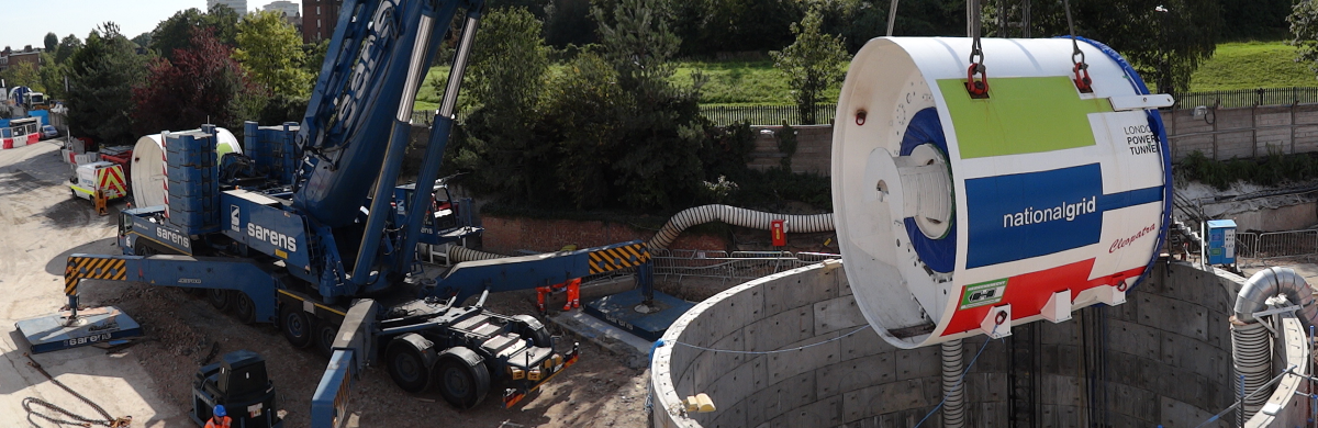 A National Grid construction site with equipment being lowered into a tunnel - Engineering and innovation