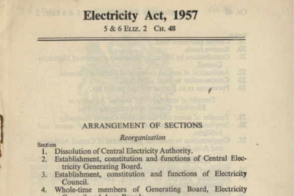 Electrcitiy Act 1957 document for National Grid history timeline